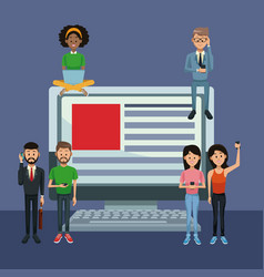 young people on social media vector image