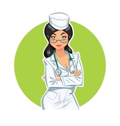 Beautiful medical doctor girl vector image