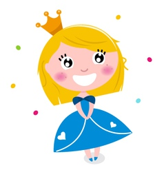 Cute little cartoon princess isolated on white vector image vector image