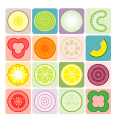 fruits and vegetables icons set 3 vector image vector image