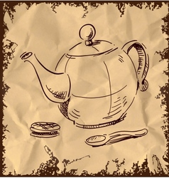 Kettle spoon and biscuit on vintage background vector image vector image
