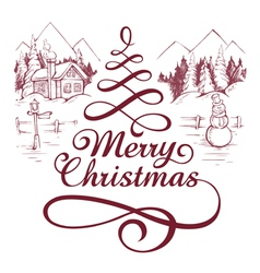 calligraphic christmas letterin vector image