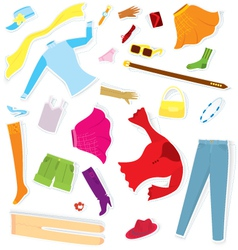 Clothes sticker set vector image vector image