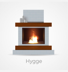 hygge fireplace concept vector image