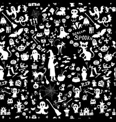 monochrome halloween doodle kids seamless pattern vector image