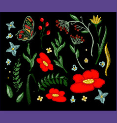 set of beautiful flowers embroidery vector image vector image