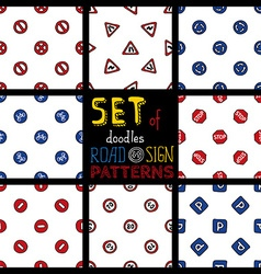 Set of doodles seamless patterns of road signs vector image