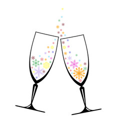 two glasses with snowflakes vector image vector image