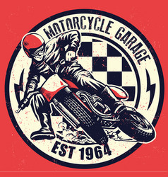 Vintage motorcycle garage design with dirty vector