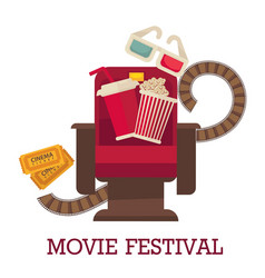 movie festival promotional poster with cinema vector image vector image