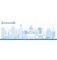 Outline Sacramento Skyline with Blue Buildings vector image vector image