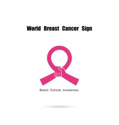 Pink handshake and help logo elements vector