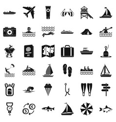 Warm water icons set simple style vector