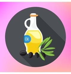 Olive Oil bottle flat icon vector image