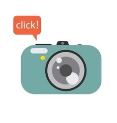 Photo digital camera with click speech bubble vector image