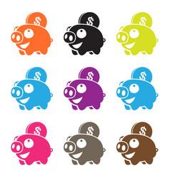 pig piggy bank vector image vector image