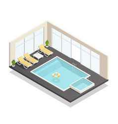 recreation swimming pool isometric composition vector image vector image