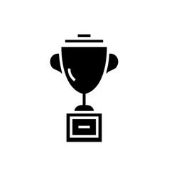 trophy cup icon black sign vector image vector image
