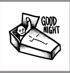 Vampire in a coffin wishes good night vector