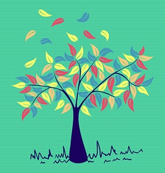 Vintage colors leaves tree vector image vector image