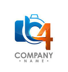 3d initial letter b and number 4 logo design vector image