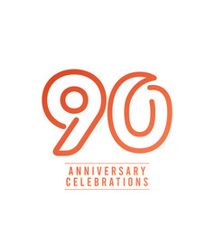 90 years anniversary celebration number text vector