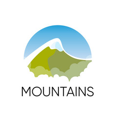 alpine mountains in round emblem for travel vector image