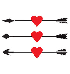 Arrow and heart set vector