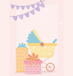 Baby shower gift boxes bunting flags card cartoon vector