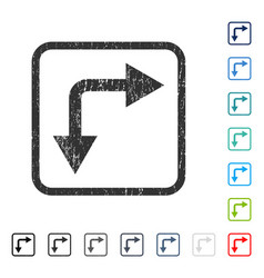 Bifurcation arrow right down icon rubber watermark vector