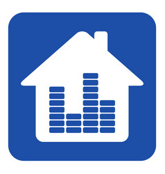 Blue white information sign house with equalizer vector