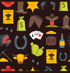 cartoon cowboy seamless pattern background vector image