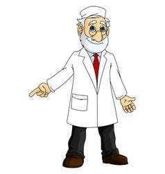 Cartoon doctor in white coat vector
