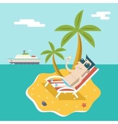 cartoon man character summer travel vacation sea vector image