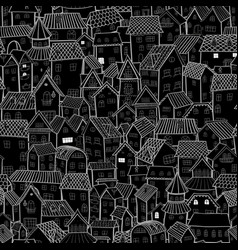 Cartoon town at night seamless pattern small old vector