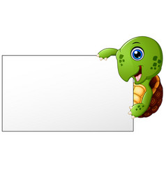 cartoon turtle holding blank banner vector image