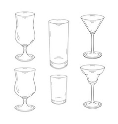 Collection of hand drawn glasses for cocktails and vector