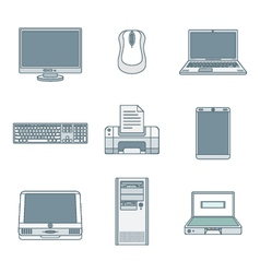 colored outline computer gadgets icons vector image