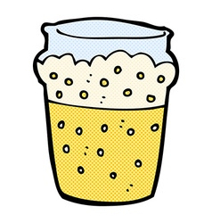 comic cartoon glass of beer vector image