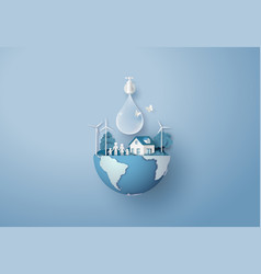 Concept ecology and world water day paper art vector