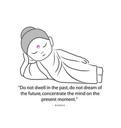 Contemplating buddha with quote to inspire vector