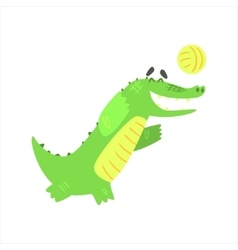 Crocodile Playing Volleyball Humanized Green vector
