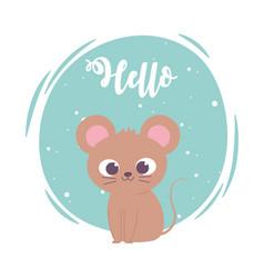 Cute cartoon animal adorable wild character little vector