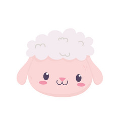 Cute sheep face animal cartoon isolated icon vector