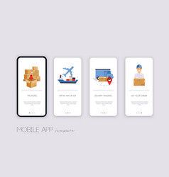 Delivery tracking app template screens user vector