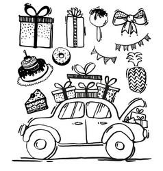 doodle set festive design elements sketch line vector image