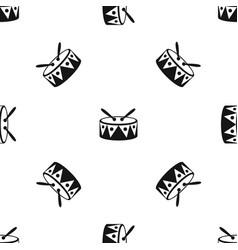 drum and drumsticks pattern seamless black vector image
