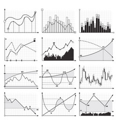 finance charts and business graphics analysis vector image