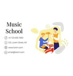 Flat business card template music school vector