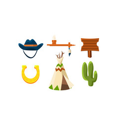 flat set colorful wild west elements vector image